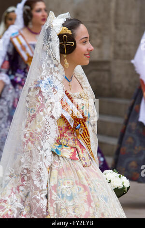 Flower offering procession in honour of the Lady of the Forsaken Valencia Spain - Stock Image