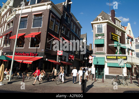 Amsterdam diamont factory street cafe - Stock Image