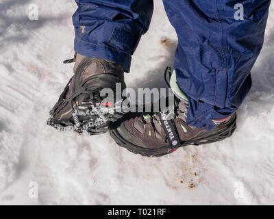 Yaktrax hiking crampons. - Stock Image