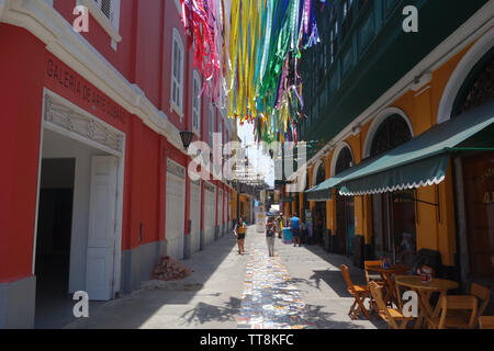 Lima, Peru - March 10, 2019: Colorful buildings in the Callao Monumental arts regeneration project - Stock Image