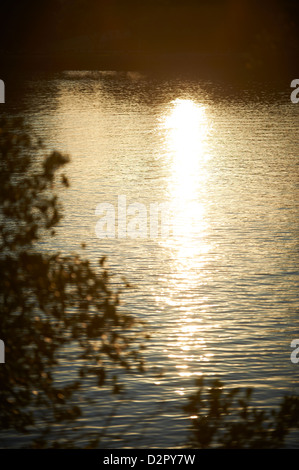 Sun reflections on river - Stock Image
