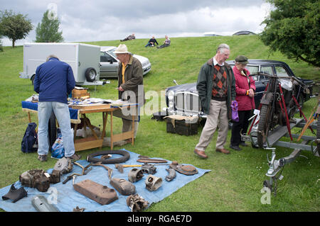 Vintage motorcycle spares for sale at the annual Banbury Run Autojumble in Oxfordshire. - Stock Image