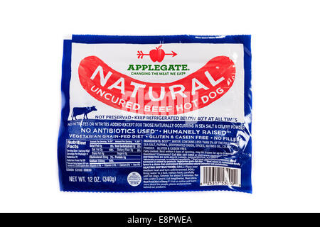 A package of Applegate Natural Uncured Beef Hot Dogs - Stock Image