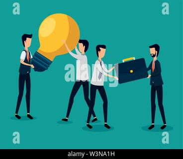 professional businessmen teamwork with bulb idea and briefcase - Stock Image