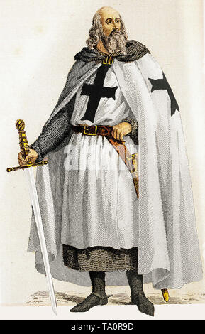 Knights Templar, Jacques de Molay, Grand Master of the Knights Templar, hand coloured engraving, 19th Century - Stock Image