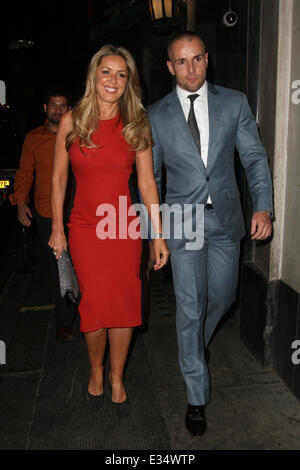Claire Sweeney leaving the Ivy with fiance Daniel Riley  Featuring: Claire Sweeney,Daniel Riley Where: London, United - Stock Image