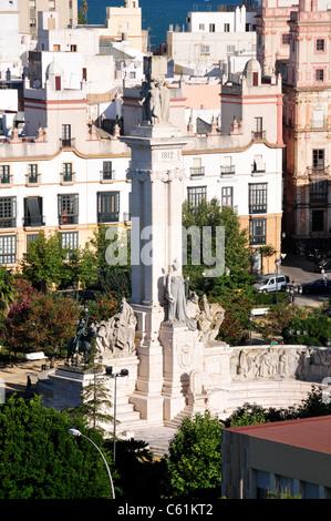 Cortes Memorial, Plaza de Espana, Cadiz, Spain - Stock Image