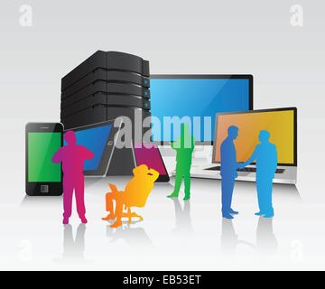 Silhouettes of business people with media device - Stock Image