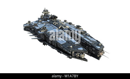 Alien spaceship flying, UFO spacecraft in flight isolated on white background, front view, 3D rendering - Stock Image