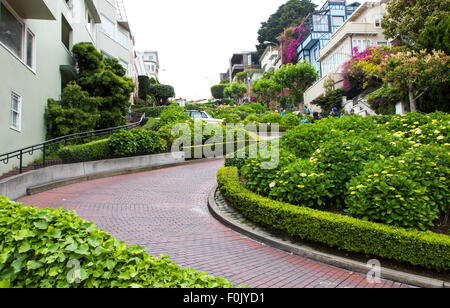 The Famous Lombard Street in San Francisco, California, USA - Stock Image