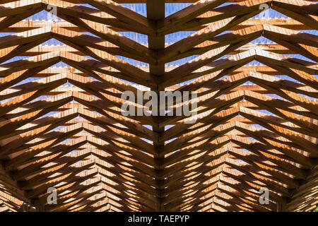 Underside view of transparent corrugated fibreglass roof sheeting and wooden joist framework, Montreal, Quebec, Canada - Stock Image