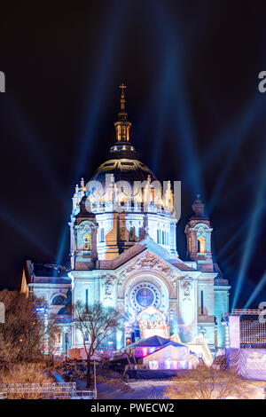 The Cathedral of Saint Paul illuminated for the Red Bull Crashed Iced 2018 event. - Stock Image
