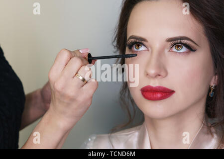Makeup artist working in a makeup studio applies mascara. Female face close up. - Stock Image