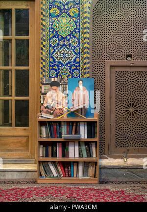 Khomeini and Khamenei portraits in Seyyed mosque, Isfahan, Iran - Stock Image