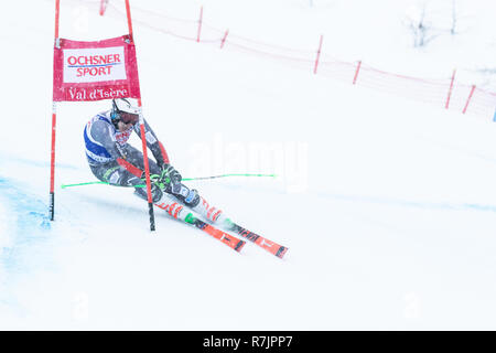 08 Dec. 2018 Henrik Kristoffersen of Norway skiing 1st run Giant Slalom Val d'Isere men's Giant Slalom Audi FIS Alpine Ski world Cup 2019 2nd place - Stock Image
