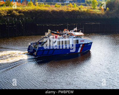 Survey vessel Humber Guardian  working in the river Tees at Thornaby  Middlesbrough North Yorkshire England - Stock Image