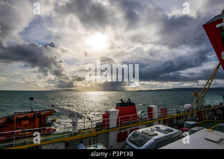 A hailstorm approaches the Armadale to Mallaig car ferry on its crossing from the Isle of Skye to the Scottish mainland - Stock Image
