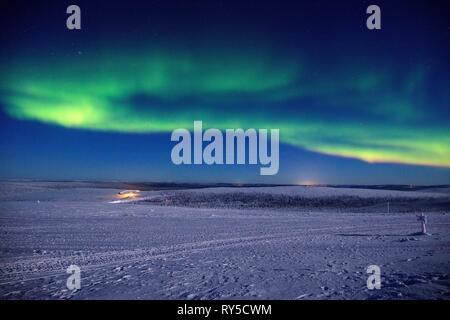 Finland, Lapland province, Inari, Saariselka, Kaunispaa Summit, Northern Lights - Stock Image