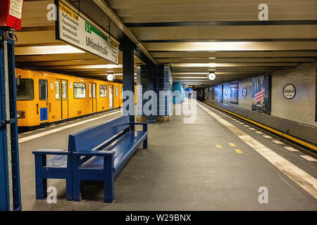 Uhlandstrasse underground U-bahn station serves U1 line . Berlin,Germany - Stock Image