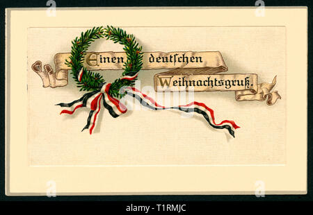 Germany, Baden-Württemberg, Rastatt, WW I, propaganda, patriotic Christmas postcard with the text: 'Einen deutschen Weihnachtsgruß' (a German Christmas greeting), together with an wreath of fir ad a black-white-red ribbon, postcard was sent on 23. 12. 1915. , Additional-Rights-Clearance-Info-Not-Available - Stock Image