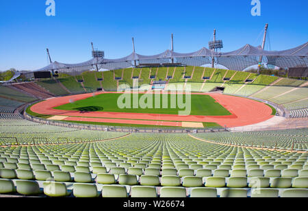 MUNICH - GERMANY April 20, 2019: Olympiapark in Munich, Germany. Olympic Park was constructed for the 1972 Olympics Summer Games. - Stock Image