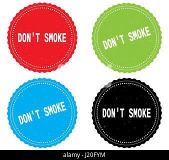 DON'T SMOKE text, on round wavy border stamp badge, in color set. - Stock Image