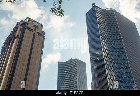 Parkview office tower and DUO skyscrapers Bras Basah Singapore. - Stock Image