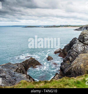 The view over Fistral Bay to Fistral Beach in Newquay in Cornwall. - Stock Image