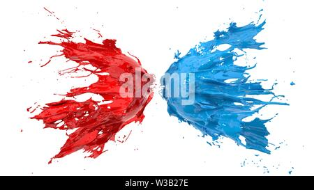 red and blue fluid splash on white background. suitable for fluid, color and paint themes. 3d illustration - Stock Image