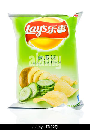 Winneconne, WI - 16 May 2019 : A package of Lays cucumber chips on an isolated background - Stock Image