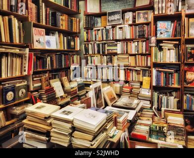 The interior of a well stocked second hand book shop. Need a book? Have a look here! Photo © COLIN HOSKINS. - Stock Image