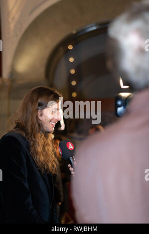 Stockholm, Sweden, March 6, 2019. Grammy-winning Ludwig Goransson receives the Swedish Government's Music Export Prize 2018. The government's Music Export Prize this year goes to the Swedish composer, conductor, and record producer Ludwig Goransson. The prize is awarded every year to someone in the music industry who during the past year has drawn attention to Sweden, and thereby contributed to Swedish exports. Credit: Barbro Bergfeldt/Alamy Live News - Stock Image
