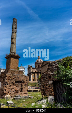 Rome, Italy - 24 June 2018: The ancient ruins at the Roman Forum, Palatine hill, tomb of unknown soldier  in Rome - Stock Image
