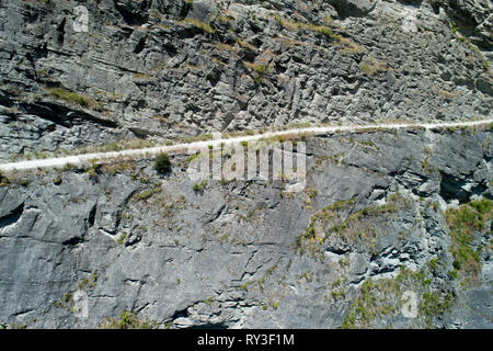 Road into Skippers Canyon, near Queenstown, South Island, New Zealand - aerial - Stock Image