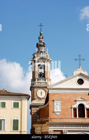 architecture of the 14th century the beautiful  historic walled  hilltown of Jesi in Le Marche, Italy - Stock Image