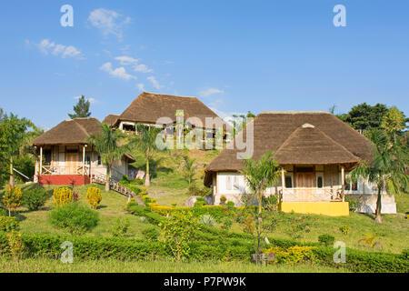 Safari Resort, Lodge, Baboon Safari Resort just outside the Queen Elizabeth National Park at Kyambura Escapment, Uganda, East Africa - Stock Image