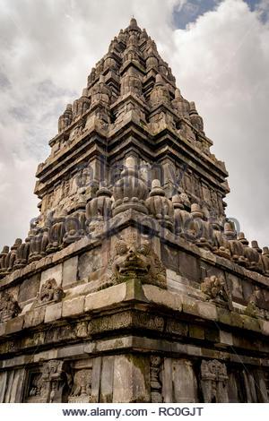 prambanan temple, traveler favorite destination in indonesia. great architecture and hindu history - Stock Image