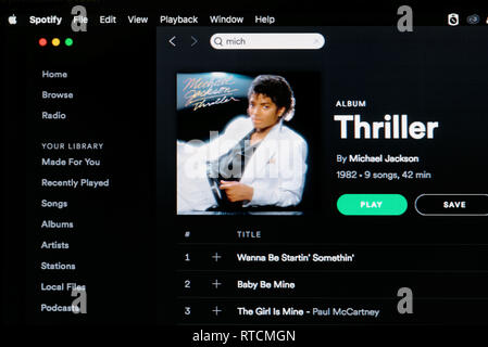 Michael Jackson album Thriller Spotify page - Stock Image