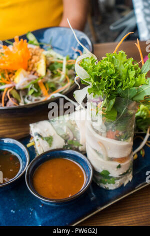 Vietnamese spring rolls served at restaurant in Berlin - Stock Image