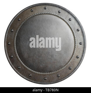 Rusty metal round shield isolated 3d illustration - Stock Image