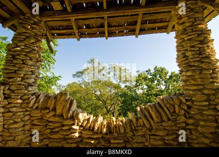 Interior Stone pagoda Japanese Tea Gardens San Antonio tx Texas - Stock Image
