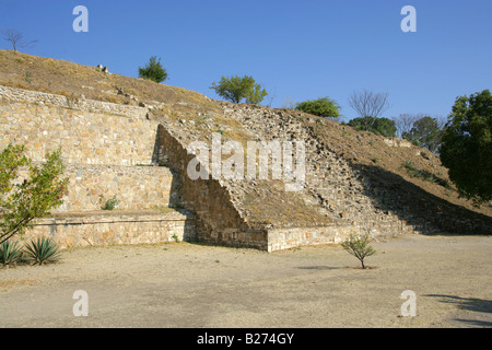 Pyramid Structure, the Ancient City of Monte Alban, UNESCO World Heritage Site near Oaxaca City, Oaxaca, Mexico - Stock Image