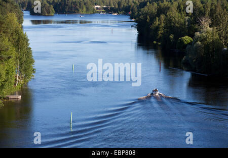 Motorboat at river Leppävirta , Finland - Stock Image