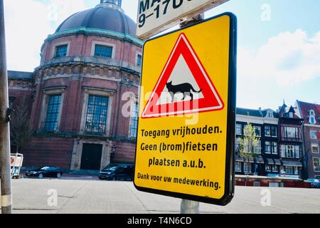 Amsterdam, Netherlands - April 2019; Mind the cats of the poezenboot, floating cat sanctuary on the Singel canal. - Stock Image