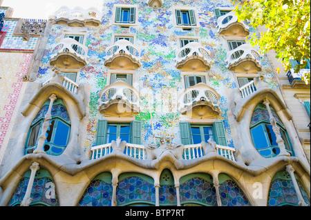 Facade of Casa Batllo, Barcelona, Catalonia, Spain - Stock Image