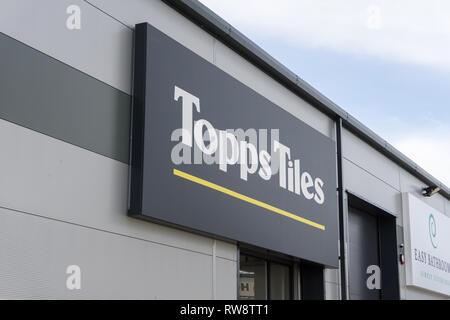 Sign for Topps Tiles, a tiling and flooring retailer, Brackmills Trade Park, Northampton, UK - Stock Image