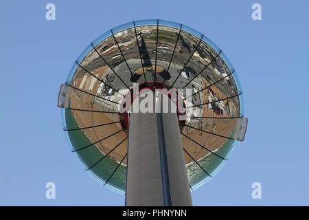 Brighton, UK - September 1 2018: Reflection on the street seen from the 162-meter observation tower on the seafront of Brighton   on 1​ September 2018.   The Pier, in the central waterfront section, opened in 1899 houses amusement rides as well as food kiosks.Credit: David Mbiyu /Alamy Live News - Stock Image