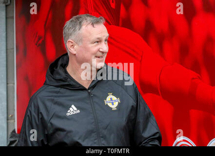 Windsor Park, Belfast, Northern Ireland.20 March 2019.Northern Ireland training in Belfast this morning ahead of their UEFA EURO 2020 Qualifier against Estonia tomorrow night in the stadium. Northern Ireland manager Michael O'Oneill at this morning's session.  Credit: David Hunter/Alamy Live News. - Stock Image