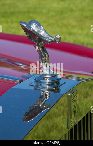 Westbury, New York, USA. June 12, 2016.  Flying Lady chrome hood ornament is atop grille of 1985 red Rolls Royce - Stock Image