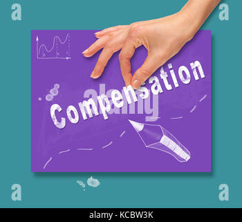 A hand picking up a Compensation concept on a colorful drawing board. - Stock Image